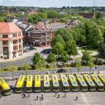 Autobusy Scania na Placu Zwycięstwa w Słupsku
