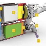 Przekrój tłumika wydechowego z układem SCRT.