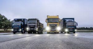 MAN presents the new generation of trucks in February 2020: TGL, TGS, TGX and TGM (from left).  MAN präsentierte im Februar 2020 seine neue Lkw-Generation: TGL, TGS, TGX und TGM (von links)